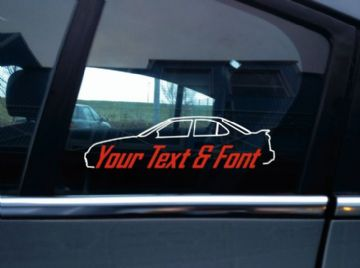 2x Custom YOUR TEXT car sticker - for  Nissan Sentra SE-R ( B15 ) usdm